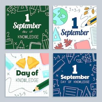Coleção de postagens do instagram de 1 de setembro de desenhos animados
