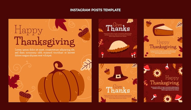 Coleção de postagens do instagram de ação de graças desenhada à mão