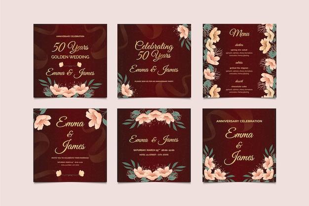 Coleção de postagens do instagram de aniversário de casamento
