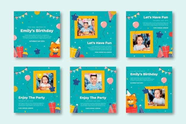Coleção de postagens do instagram de aniversários infantis
