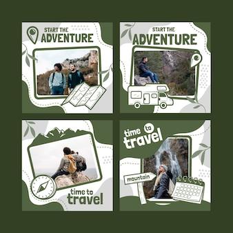 Coleção de postagens do instagram de aventura desenhada à mão com foto