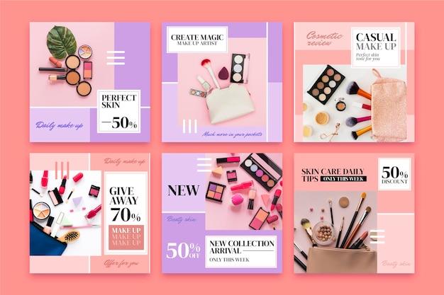 Coleção de postagens do instagram de beleza gradiente Vetor Premium