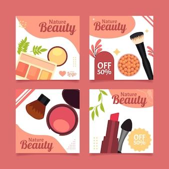 Coleção de postagens do instagram de beleza simples