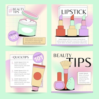 Coleção de postagens do instagram de beleza