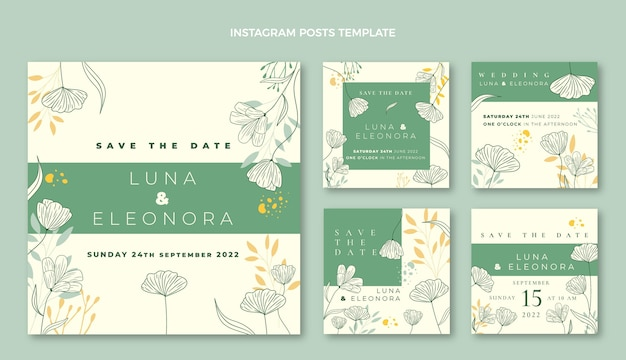 Coleção de postagens do instagram de casamento desenhada à mão