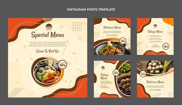 Coleção de postagens do instagram de comida de design plano