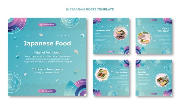 Coleção de postagens do instagram de comida japonesa desenhada à mão