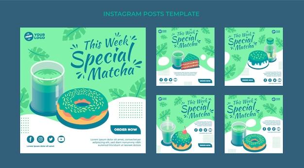 Coleção de postagens do instagram de comida matcha plana