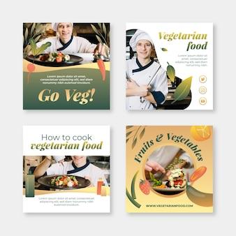 Coleção de postagens do instagram de comida vegetariana gradiente