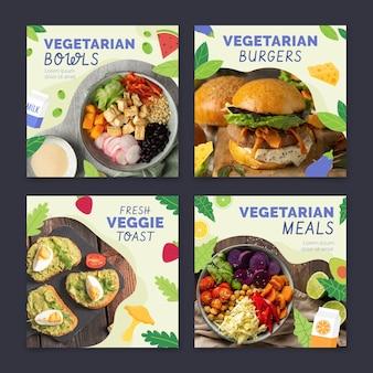 Coleção de postagens do instagram de comida vegetariana plana desenhada à mão