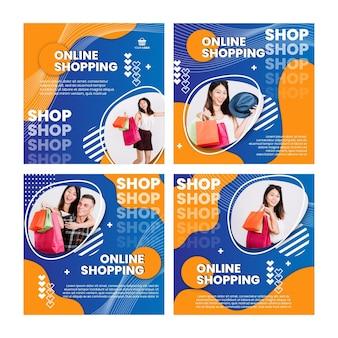 Coleção de postagens do instagram de compras online