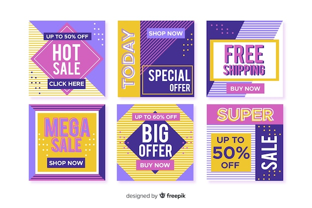 Coleção de postagens do instagram de cupons de venda