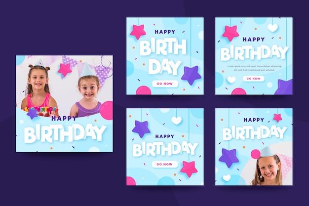 Coleção de postagens do instagram de feliz aniversário
