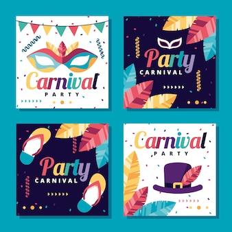 Coleção de postagens do instagram de festa de carnaval