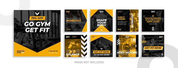 Coleção de postagens do instagram de ginástica e esporte