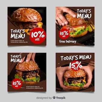 Coleção de postagens do instagram de grandes hambúrgueres