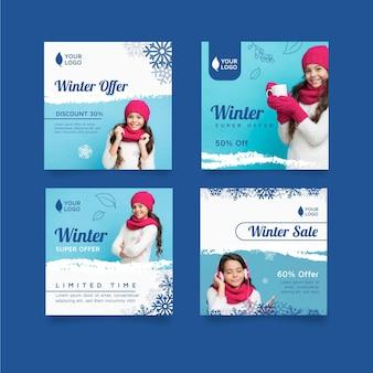 Coleção de postagens do instagram de inverno