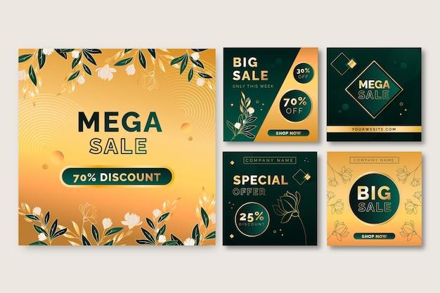Coleção de postagens do instagram de mega venda gradiente