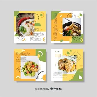 Coleção de postagens do instagram de menu vegetariano com foto