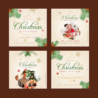 Coleção de postagens do instagram de natal