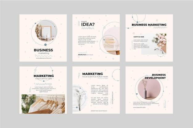 Coleção de postagens do instagram de negócios de marketing