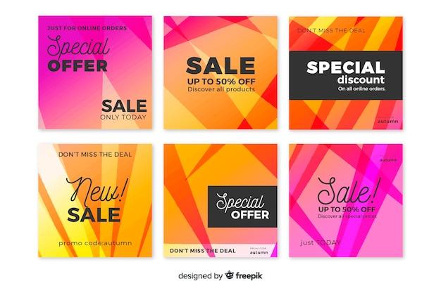 Coleção de postagens do instagram de oferta especial de gradiente