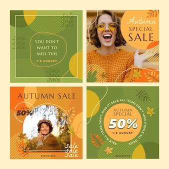 Coleção de postagens do instagram de outono com foto