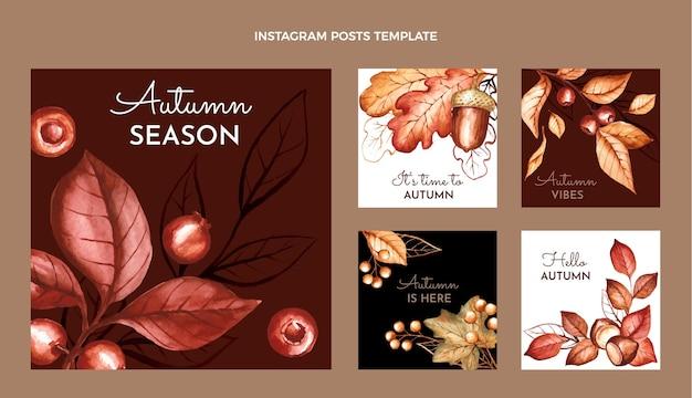 Coleção de postagens do instagram de outono em aquarela Vetor grátis
