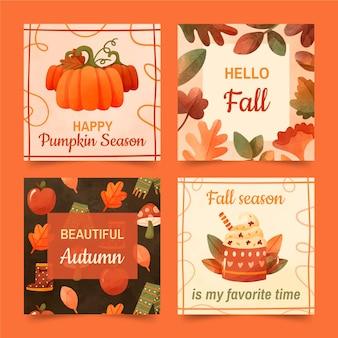 Coleção de postagens do instagram de outono em aquarela