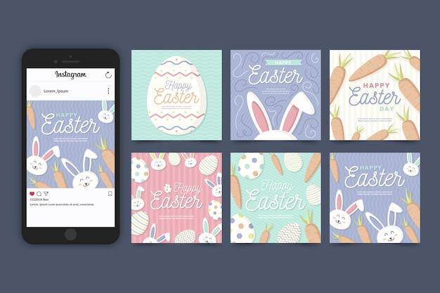 Coleção de postagens do instagram de páscoa de cenouras e coelhos