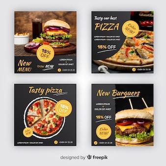 Coleção de postagens do instagram de pizza e hambúrgueres