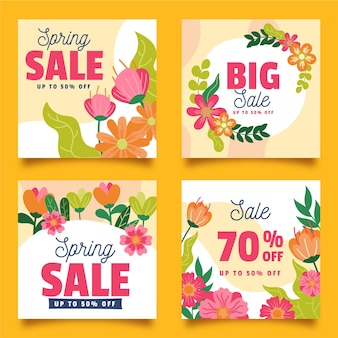 Coleção de postagens do instagram de promoções de primavera