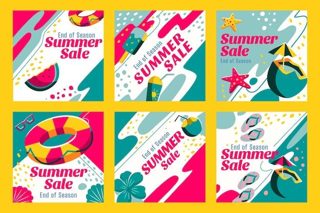 Coleção de postagens do instagram de promoções de verão no fim da temporada