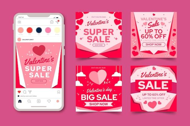 Coleção de postagens do instagram de promoções do dia dos namorados