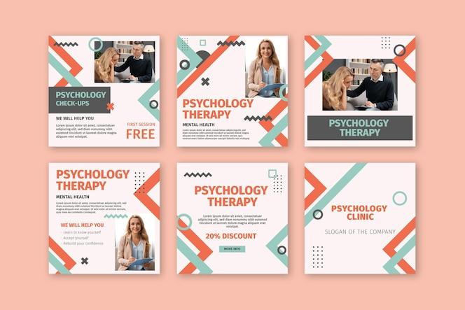 Coleção de postagens do instagram de psicologia