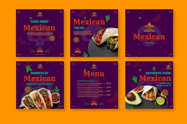 Coleção de postagens do instagram de restaurante de comida mexicana