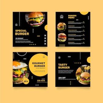 Coleção de postagens do instagram de restaurante de hambúrgueres