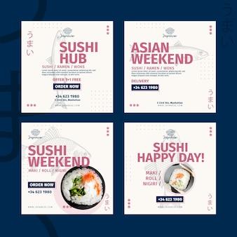 Coleção de postagens do instagram de restaurante japonês