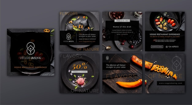 Coleção de postagens do instagram de restaurantes saudáveis