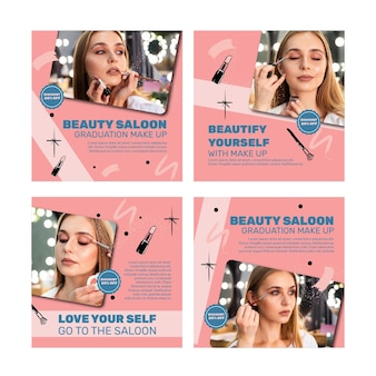 Coleção de postagens do instagram de salão de beleza