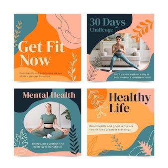 Coleção de postagens do instagram de saúde e fitness desenhada à mão