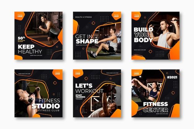 Coleção de postagens do instagram de saúde e fitness gradiente