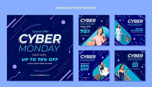 Coleção de postagens do instagram de segunda-feira cibernética plana