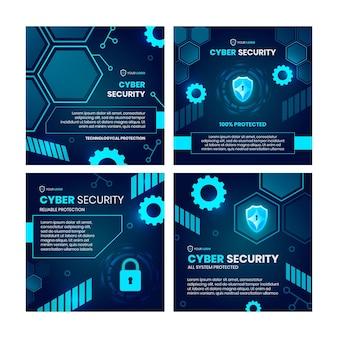 Coleção de postagens do instagram de segurança cibernética