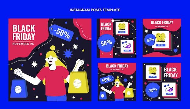 Coleção de postagens do instagram de sexta-feira desenhada à mão