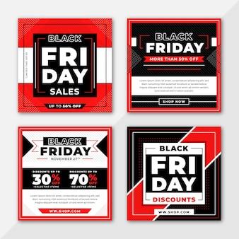 Coleção de postagens do instagram de sexta-feira preta com design plano