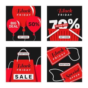 Coleção de postagens do instagram de sexta-feira preta plana