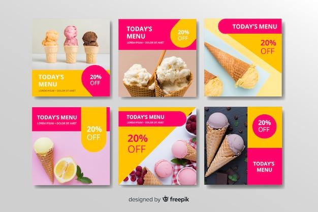 Coleção de postagens do instagram de sorvete