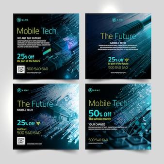 Coleção de postagens do instagram de tecnologia móvel