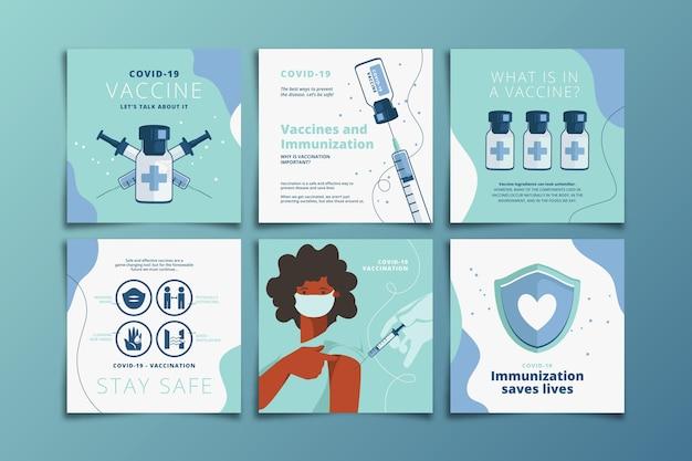 Coleção de postagens do instagram de vacinação